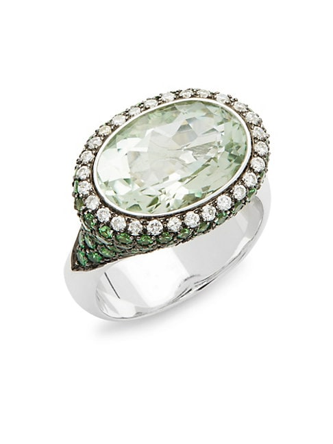 ESTATE FINE JEWELRY | Vintage 18K White Gold, Multi-Gemstone & Diamond Cocktail Ring | Goxip