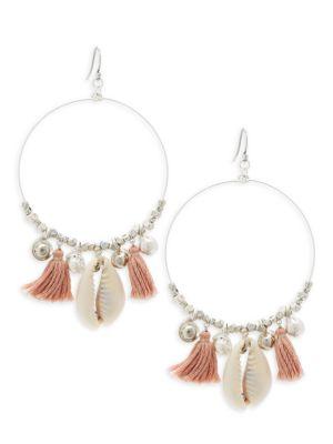 Chan Luu Sterling Silver Tassel Hoop Earrings