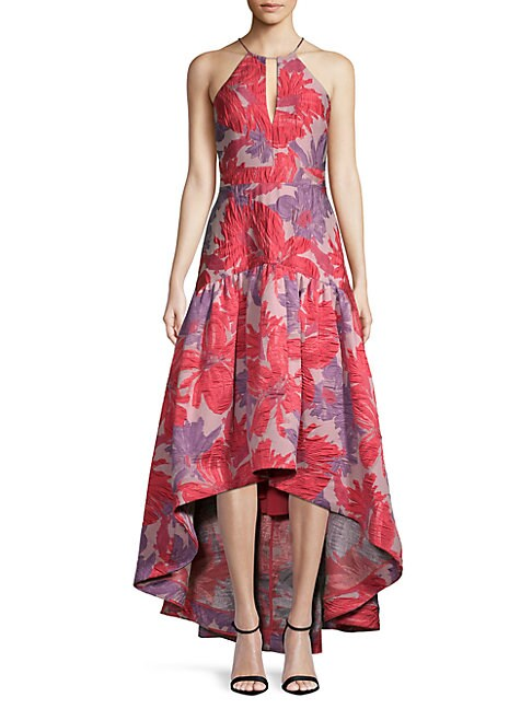 Floral Hi-Lo Halterneck Dress