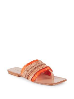 SIGERSON MORRISON Women'S Avis Raffia Thong Sandals in Orange