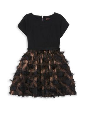 IMOGA Little Girl'S & Girl'S Mesh-Trimmed Dress in Black