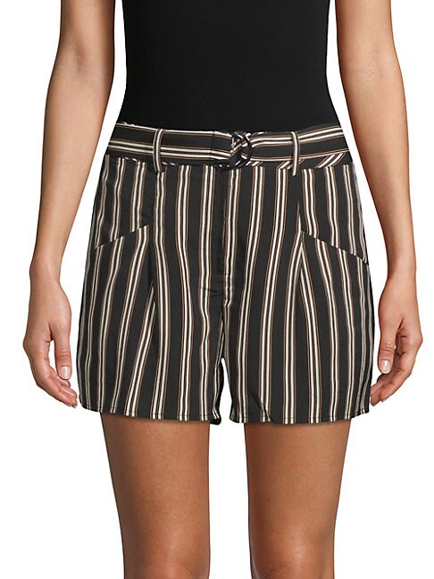 Moon River STRIPED BELTED SHORTS