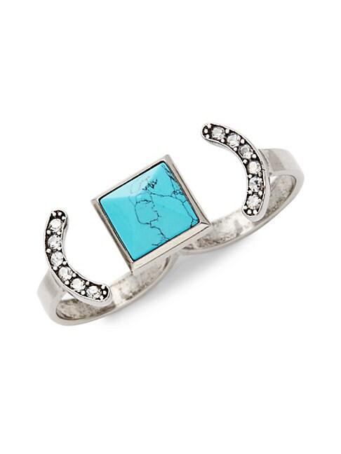 Turquoise & White Topaz Two-Finger Ring