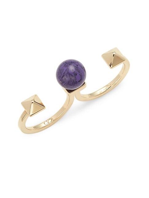 Rockstud Amethyst Two-Finger Ring