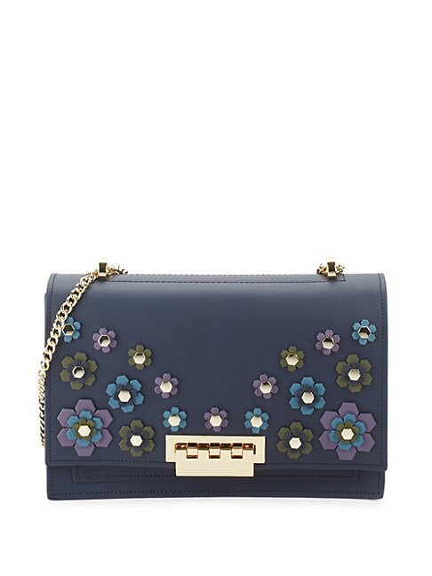 Earthette Floral Appliqué Leather Shoulder Bag