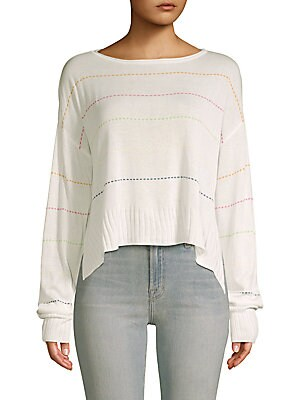 PEACE LOVE WORLD Samantha Boatneck Sweater in Natural White
