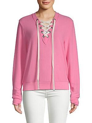 PEACE LOVE WORLD Cristina Lace-Up Sweater in Azalea Pink