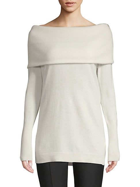CASHMERE SAKS FIFTH AVENUE | Cashmere Off-The-Shoulder Sweater | Goxip