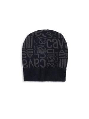 Shop Roberto Cavalli Logo Printed Hat In Night Blue 028b69ccde6