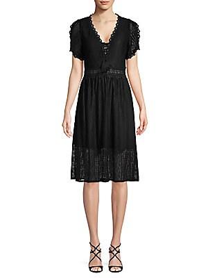 ALLISON NEW YORK Short-Sleeve Lace Dress in Black