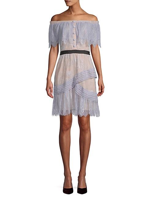 ALLISON NEW YORK   Ruffled Lace Dress   Goxip