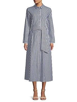 FEW MODA Striped Cotton Midi Dress in Multi
