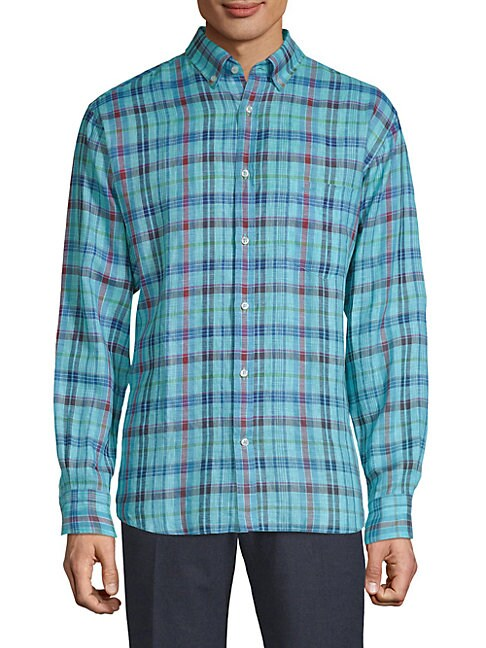 Checkered Linen Button-Down Shirt