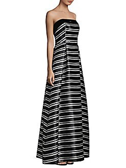 Laundry by Shelli Segal - Striped Floor-Length Ball Gown