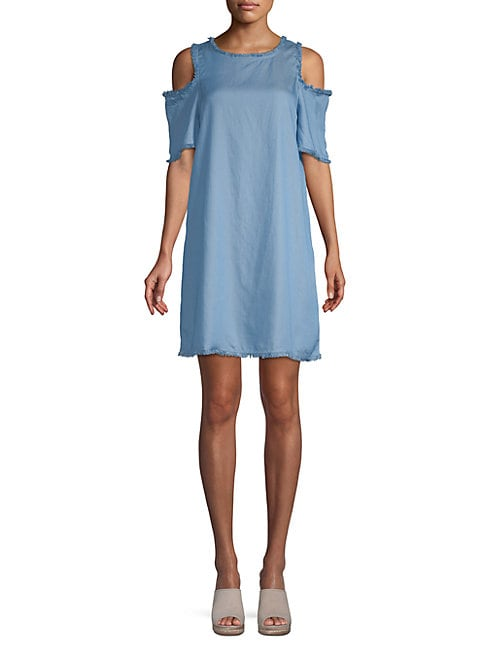 Ppla CLEO COLD-SHOULDER CHAMBRAY DRESS