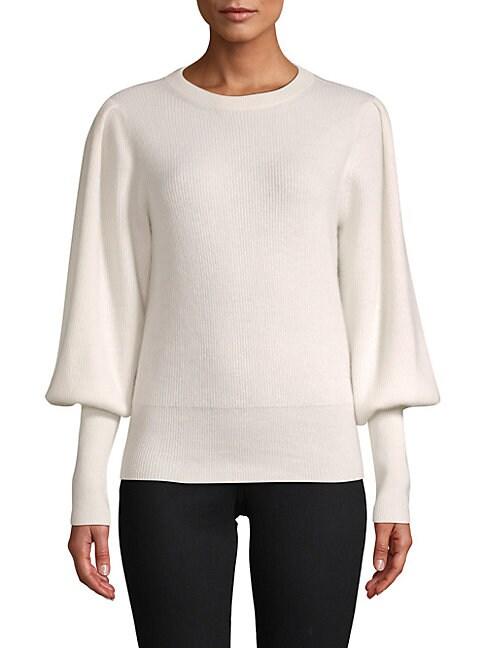 CASHMERE SAKS FIFTH AVENUE | Blouson-Sleeve Cashmere Sweater | Goxip