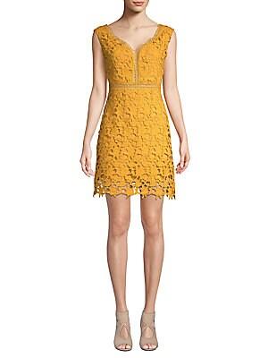 FEW MODA Sleeveless Lace Dress in Mustard