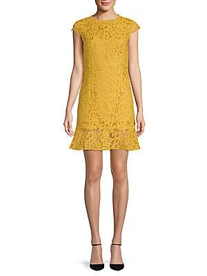 FEW MODA Fishtail Lace Mini Dress in Mustard