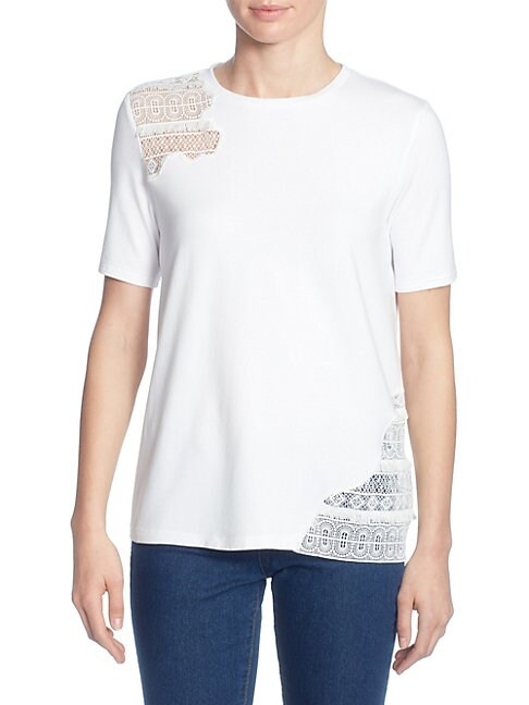 CATHERINE CATHERINE MALANDRINO Marie Lace Inset Top in Bright White