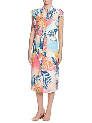 Flutter-Sleeve Tie-Waist Shirtdress, Tropical Landscape