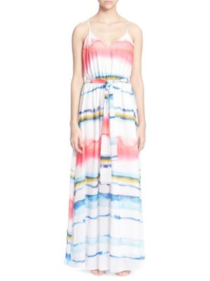 Tie-Dye Striped Chiffon Maxi Dress in Multi