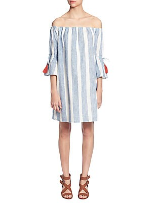 CATHERINE CATHERINE MALANDRINO Off-The-Shoulder Striped Flare-Sleeve Dress in Blue/White