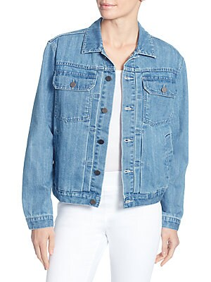 CATHERINE CATHERINE MALANDRINO Cole Embellished-Back Denim Jacket in Blue Denim
