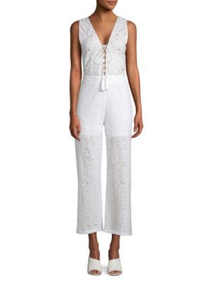 KAS NEW YORK Lace-Up Front Eyelet Jumpsuit in White
