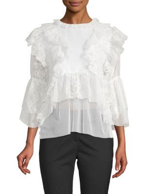 Kas New York Isabelle Ruffled Lace Blouse