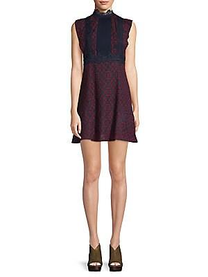 FEW MODA Contrast Lace A-Line Dress in Maroon