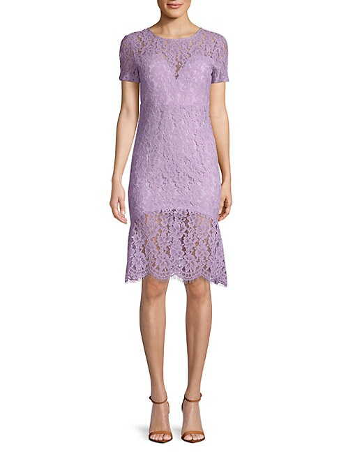 FEW MODA Fishtail Lace Bodycon Dress in Lilac