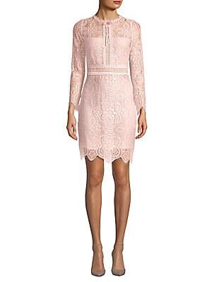 FEW MODA Scalloped Lace Cotton Bodycon Dress in Pink