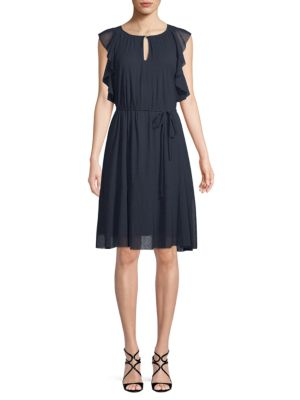 Ellen Tracy Ruffle-Trimmed Knee-Length Dress