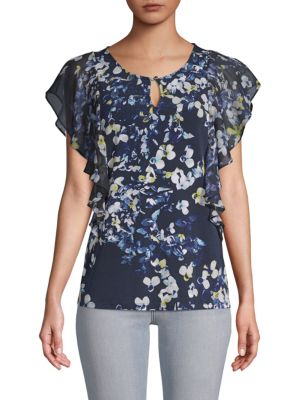 Ellen Tracy Mixed-Media Ruffled Top