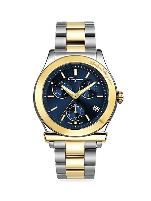 SALVATORE FERRAGAMO | Two-Tone Stainless Steel Bracelet Watch | Goxip