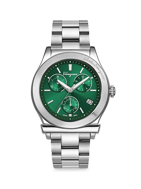 SALVATORE FERRAGAMO | 42mm Stainless Steel Sunray Bracelet Watch | Goxip