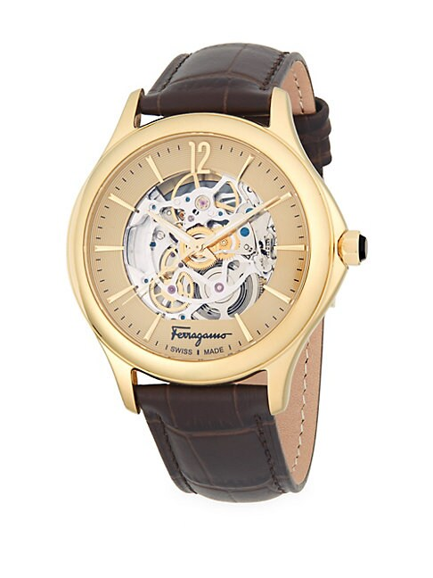 ROUND STAINLESS STEEL AUTOMATIC EMBOSSED LEATHER-STRAP WATCH