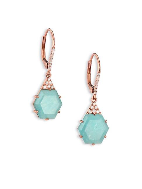 Blue Amazonite, Diamond & 14K Rose Gold Hexagon Drop Earrings