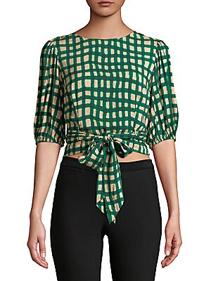Checkered Wrap Blouse