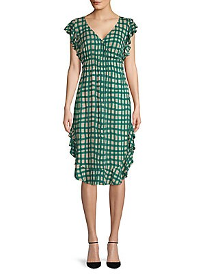PLENTY BY TRACY REESE Ruffled Checkered Dress in Palm