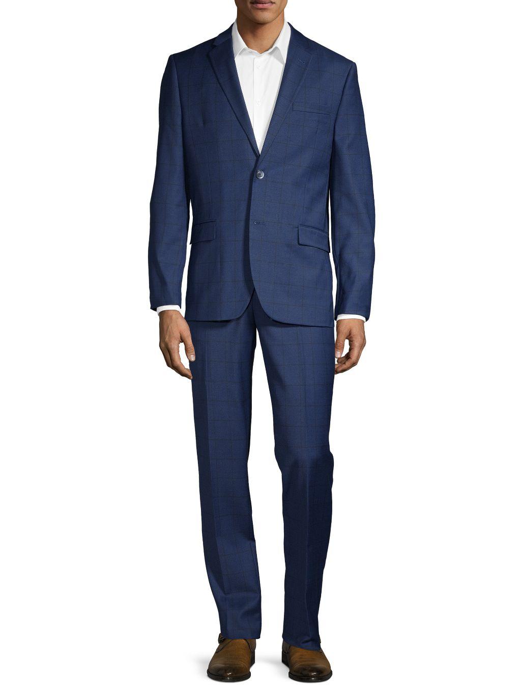 Ben Sherman 2-Piece Slim Fit Windowpane Check Stretch Wool-Blend Suit