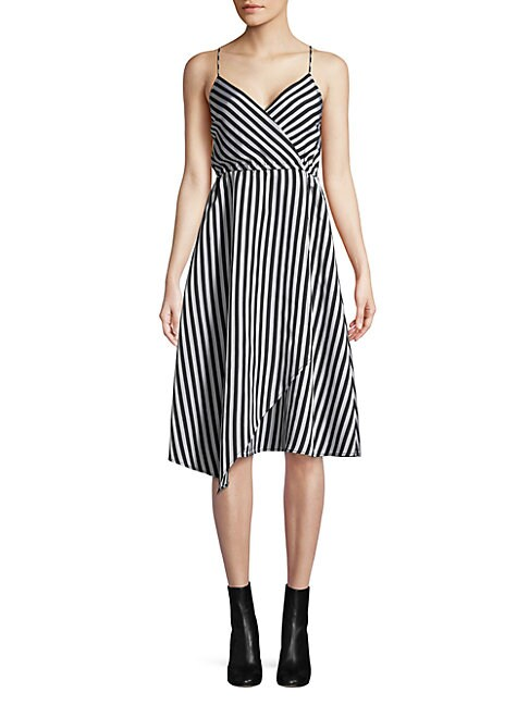 TRACY REESE Asymmetric Slip Dress in Black White