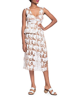 TRACY REESE Floral Half Peplum Dress in Soft White