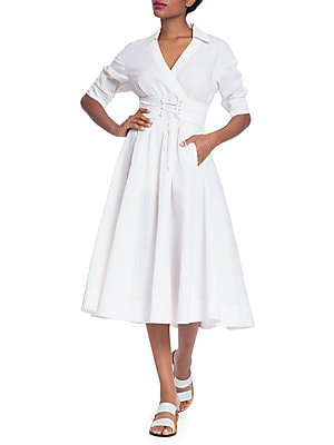 TRACY REESE Corset Shirt Dress in Soft White