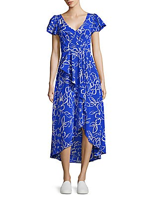 TRACY REESE Cascade Printed Hi-Lo Dress in Blue Floral