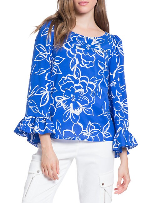 TRACY REESE Flounced Printed Top in Blue Floral