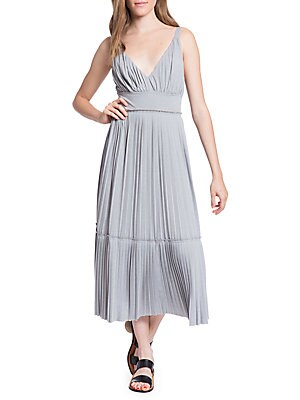 TRACY REESE Plisse Pleated Jersey Slip Dress in Earl Grey