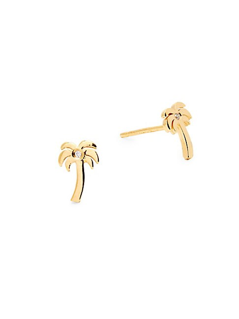Palm Tree Diamond & Sterling Silver Stud Earrings