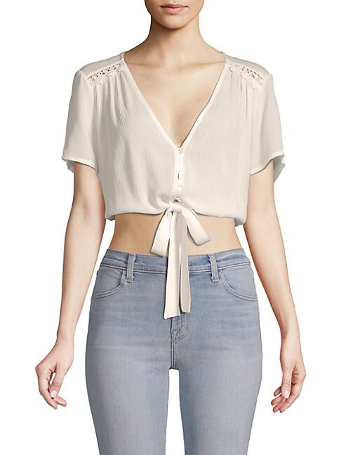 Lost + Wander RAYE TIE-FRONT CROPPED TOP