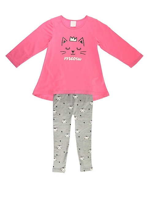 Little Girl's Two-Piece Cotton Tee and Fleece Leggings Set
